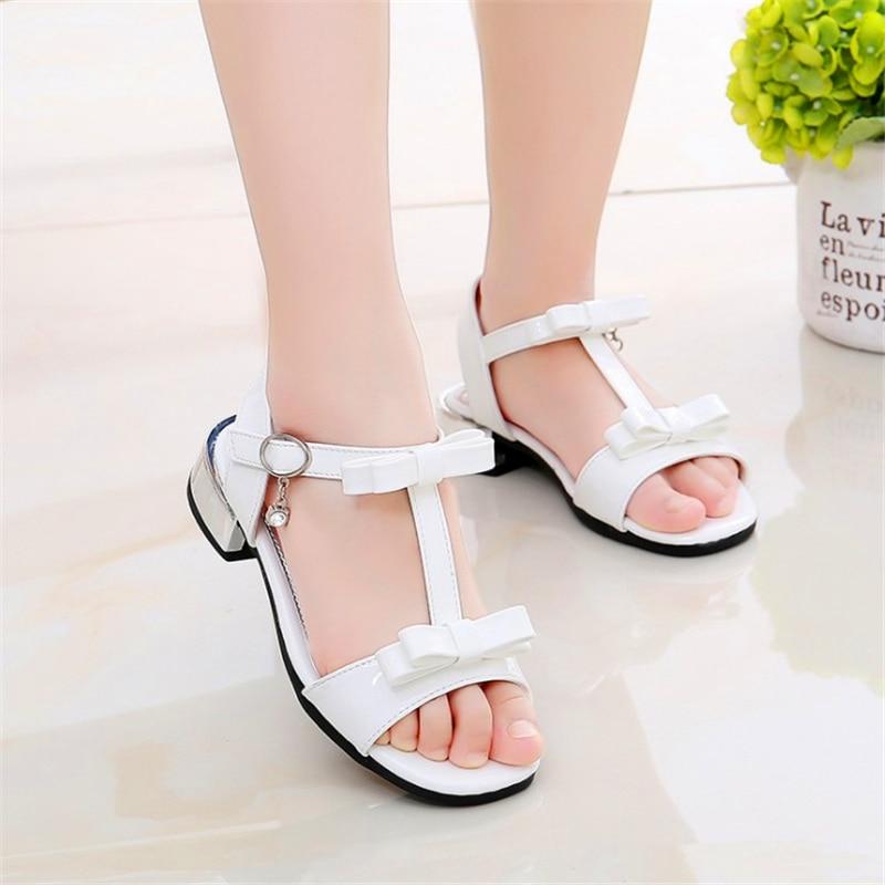 open toe bow princess shoes girls wild