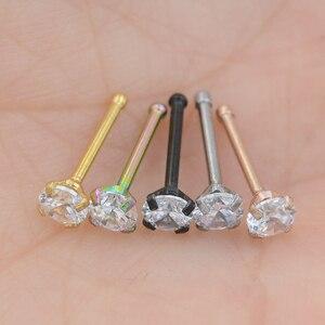 1 шт., шпильки для носа 1,5, 2 мм, 2,5 мм, 20 г, циркониевые шпильки для носа, крючки, шпильки для носа, кольца для пирсинга, украшения для тела из нерж...