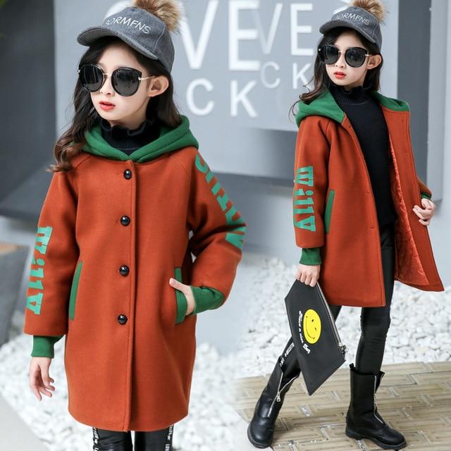 4d6075cb87fc Детские шерстяные пальто для девочек, Тренч Однобортный блейзер верхняя  одежда ...