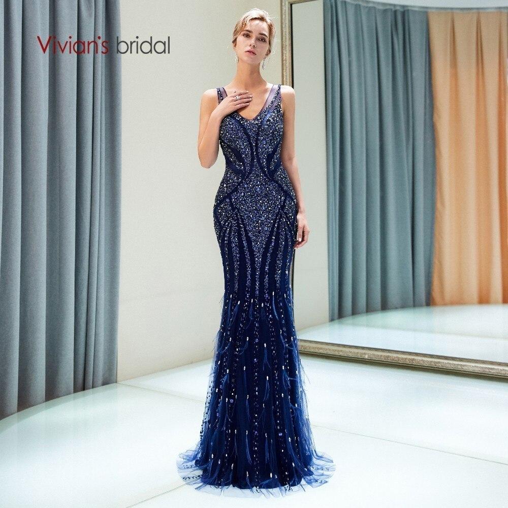 Vivian Da Sposa 2018 Cut-out Illusion Maglia delle Donne di Lusso del Vestito Da Sera Con Scollo A V Senza Maniche Perline di Cristallo Sweep Treno Convenzionale vestito