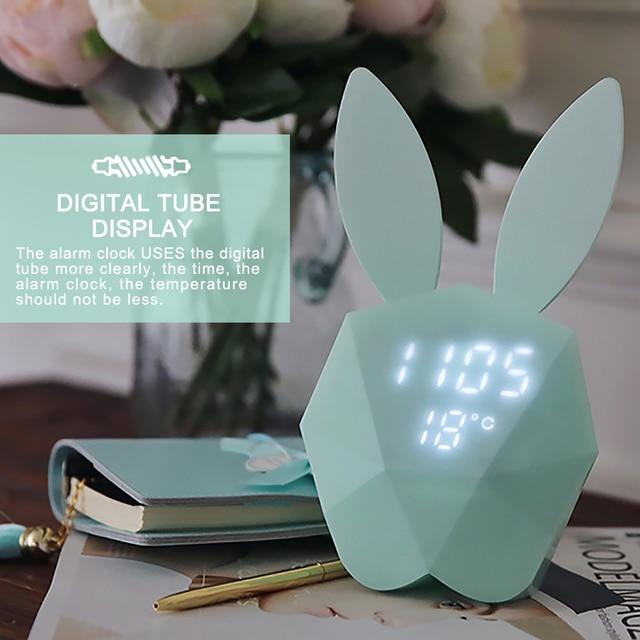 New cute rabbit bunny digital alarm clock led sound night light new cute rabbit bunny digital alarm clock led sound night light thermometer rechargeable table wall clocks mozeypictures Gallery