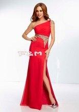 Modest Chiffon Eine Schulter Kristall Red Royal Blue Prom Lange Kleider 2016 Neue Frauen Abendgesellschaft Kleider Kostenloser Versand