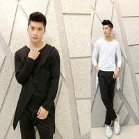 2014 New Wave Of Men Bottoming Shirt Slim Korean Fashion Personality Leave Two Long Sleeved T