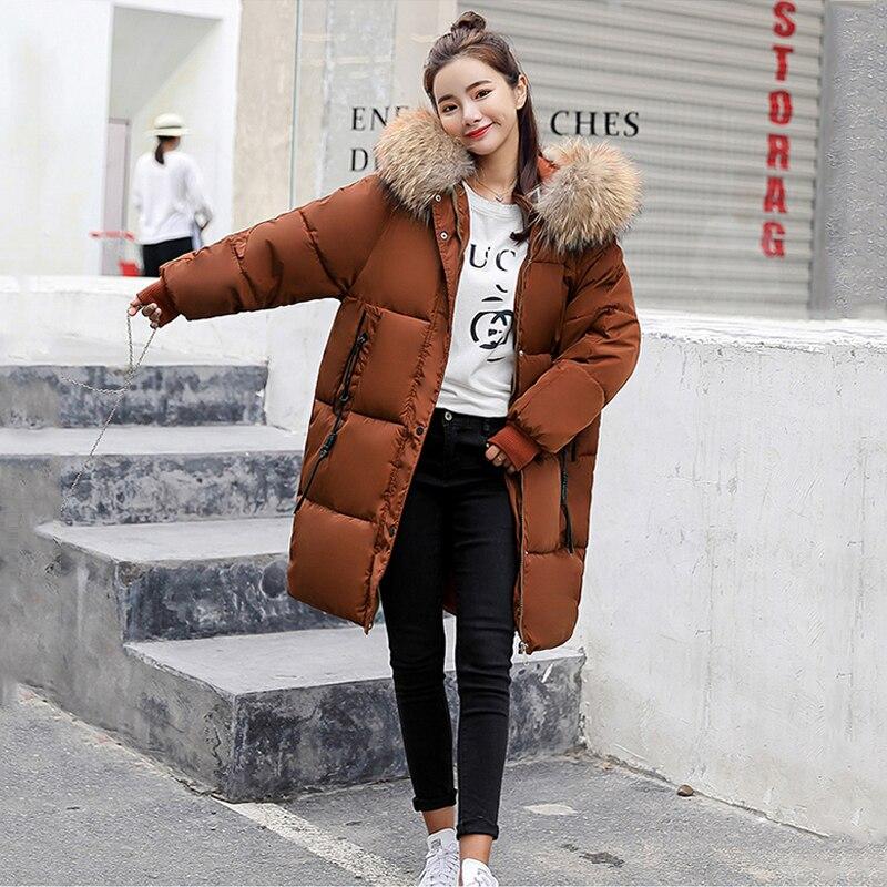 corail Manteau Rouge 2018 Grande Longueur Épais Femmes Femme Chaude caramel Moyen Couleur Noir Avec Parka gris Fourrure De Collection Veste Nouvelle Col blanc Hiver 1CxxqSnd