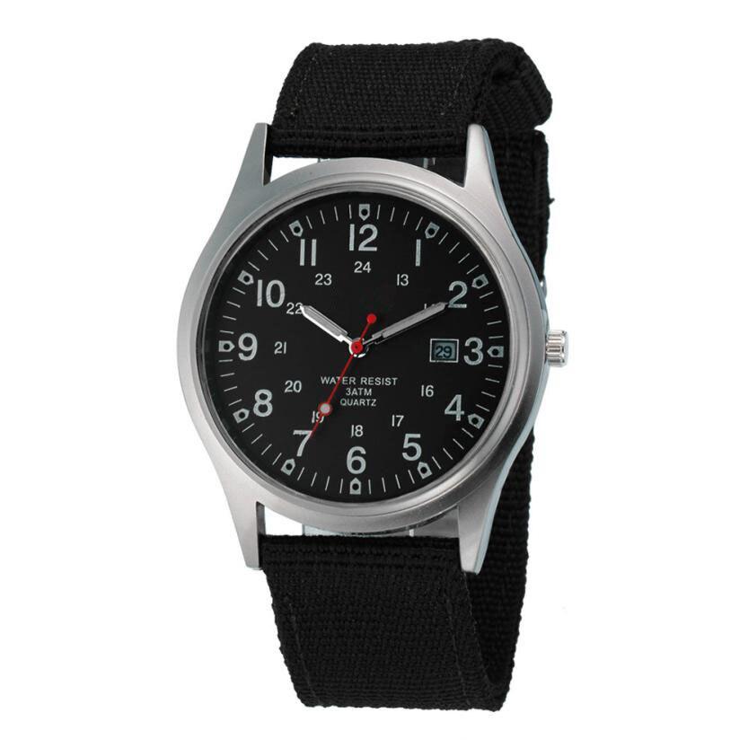 Military Army Men's Date Canvas Band Stainless Steel Sport Quartz Wrist Watch relojes hombre 2017 montre homme july11 ak military canvas band waterproof quartz sport watch