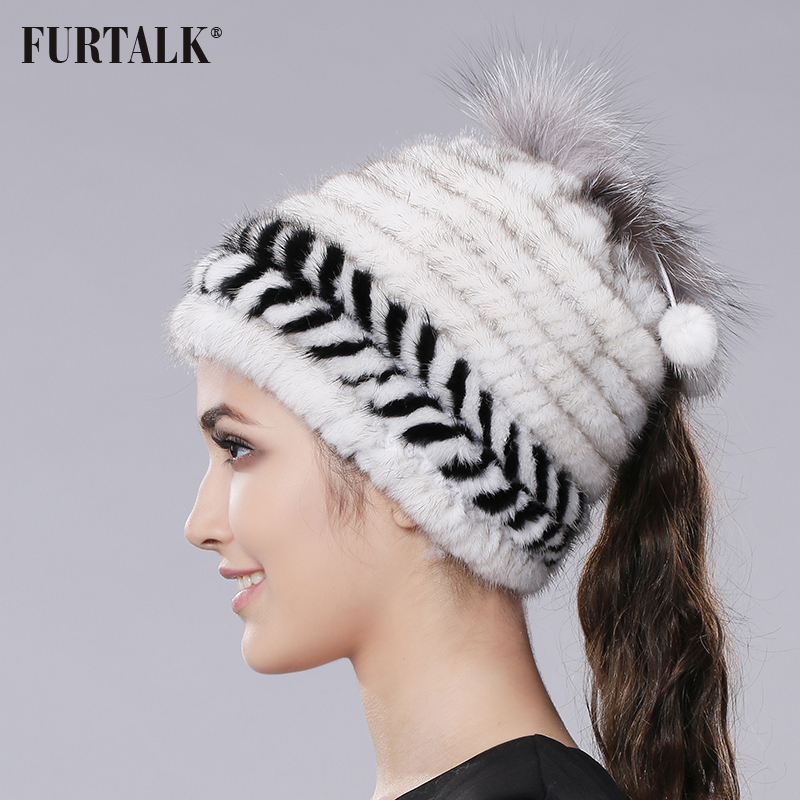 10587ad75f91e FURTALK Knit Mink Fur Hat Fashion Colorful Winter Women Mink Fut Hat with  Little Fur Pom Pom and Silver Fox Fur Hat