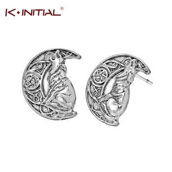 Kinitial Vintage Wolf Moon Earring Viking Dog Stud Earring Valknut Odin 's Symbol of Norse Viking Men's Earring Fashion Bijoux image