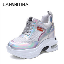 2019 Women Platform Sneakers 9CM Heels Thick Sole Trainers New Summer Bling Shoes Breathable Lady Height Increased Woman