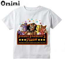 Boys/Girls Five Night At Freddy Fnaf Printed T Shirt Kids Short Sleeve Tops Children's White T-Shirt(China)