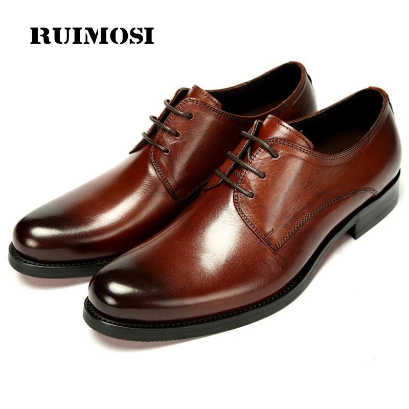 RUIMOSI Formal Man Platform Derby Dress Shoes Male Genuine Leather Designer Oxfords Luxury Brand Men's Handmade Footwear IH51