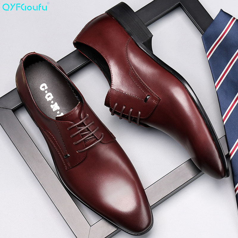 QYFCIOUFU Handmade Italian Mens Dress Shoes Genuine Leather Pointed Toe Customized Goodyear Men Derby Oxford