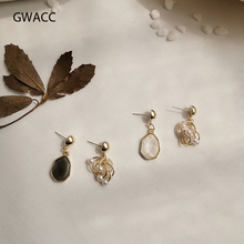 GWACC 2019 NEW Design Vintage Hollow Resin With Freshwater Pearl Drop Earrings For Women Girls Irregular Chic Boho