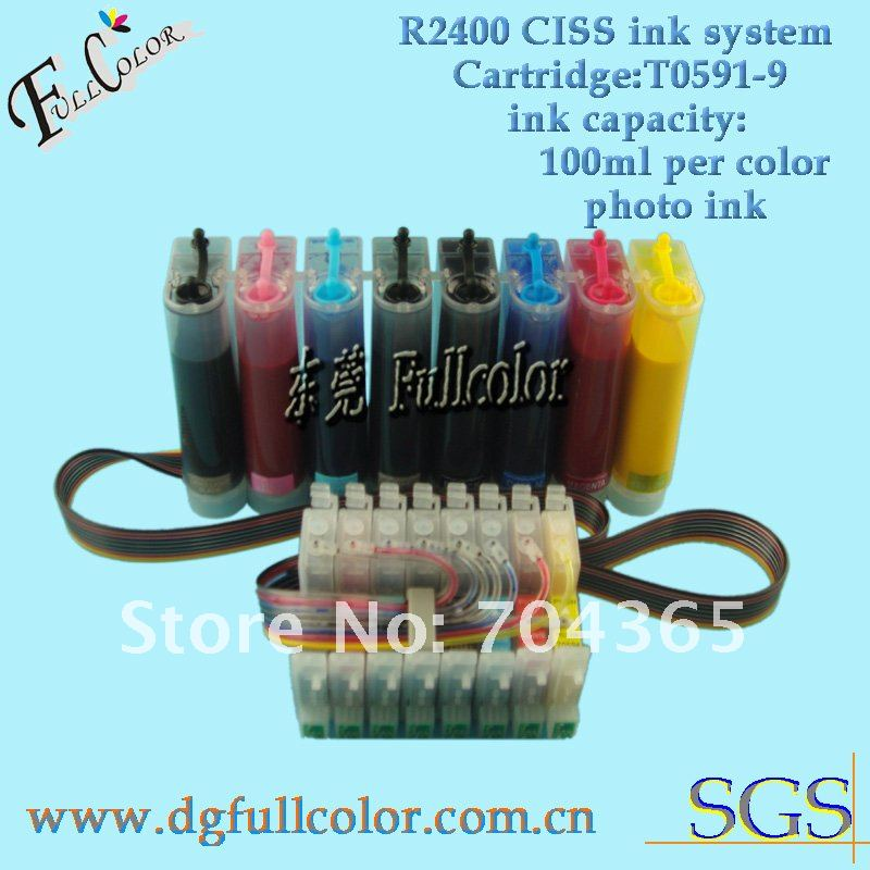 Free Shiping Photo CISS With Pigment Ink and ARC Chip For Epson R2400 8color CIS