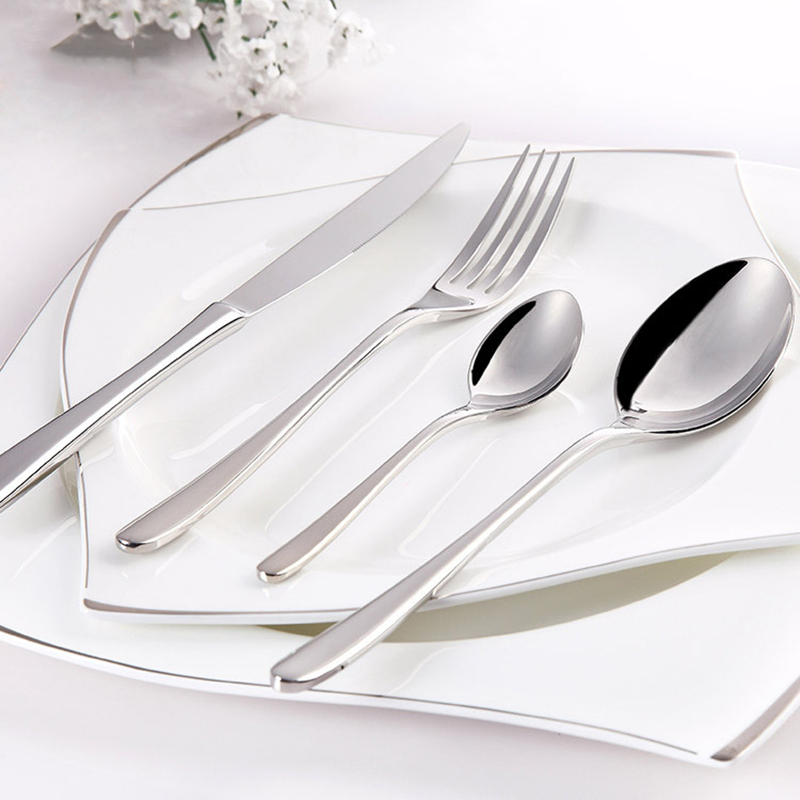 24Pcs/set Dinnerware Set Stainless Steel Silverware Tableware Luxury Cutlery Set Flatware Knife Fork Spoon Dishwasher Safe 5