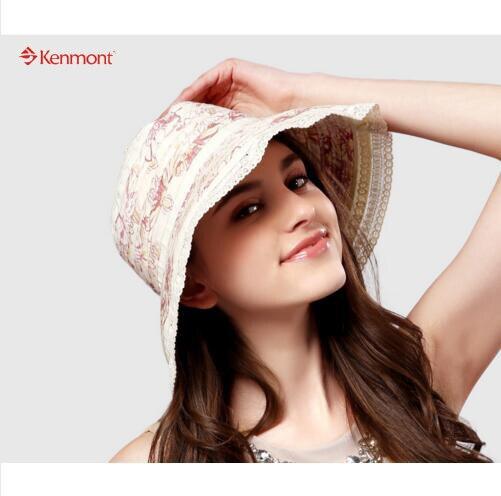 6b134210637 New Kenmont Hat Fashion Summer Women Lady Girl Solid Color Cotton Lace Wide  Brim Sun Beach