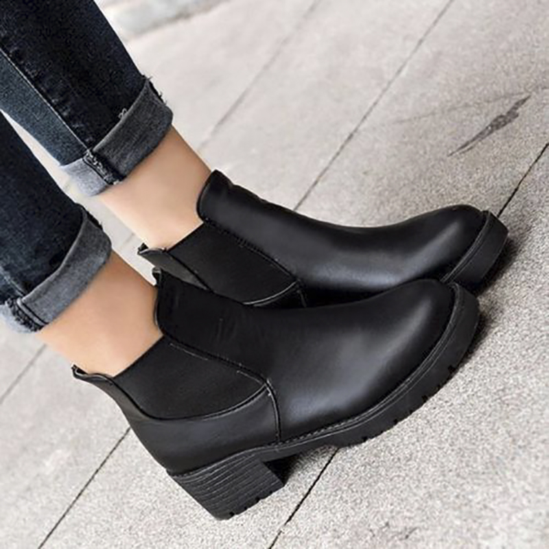 7feee561ec Women Martin Boots Faux Leather Shoes Chunky Block Heel Slip Pumps Low Ankle  Boots PU Patch Black Winter Shoes Chelsea Boot-in Ankle Boots from Shoes on  ...