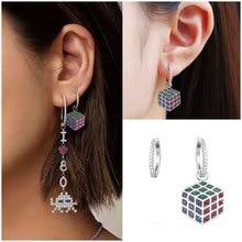 AAA+ Fashion Micro Pave Top Cubic Zirconia Asymmetry MAGIC CUBE Earrings Silver Hoop For Women Monaco Jewelry