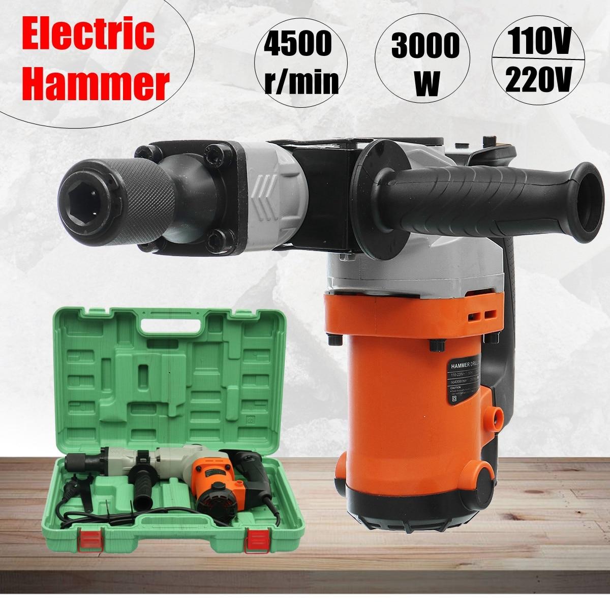 220V Electric Drills 3000W Electric Demolition Hammer Drill Concrete Breaker Punch Jackhammer 3000BPM220V Electric Drills 3000W Electric Demolition Hammer Drill Concrete Breaker Punch Jackhammer 3000BPM