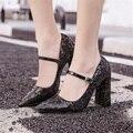 Frete grátis primavera moda paillette das mulheres 10 cm salto alto do dedo do pé apontado sapatos de salto grosso boca rasa sapatos Mary Jane sapatos