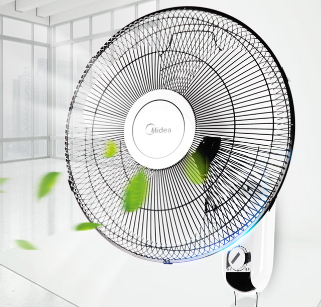 16 Inch Electric Cooling Fan Left Right Rotate Wall Mounted With 3 Leaf Home Office Sd Adjule Rope Switch