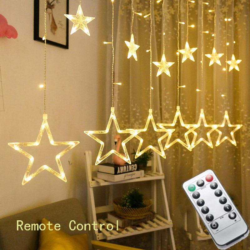 4.5M 138 led star string lights Christmas fairy light garland led curtain for wedding home party birthday decoration with remote