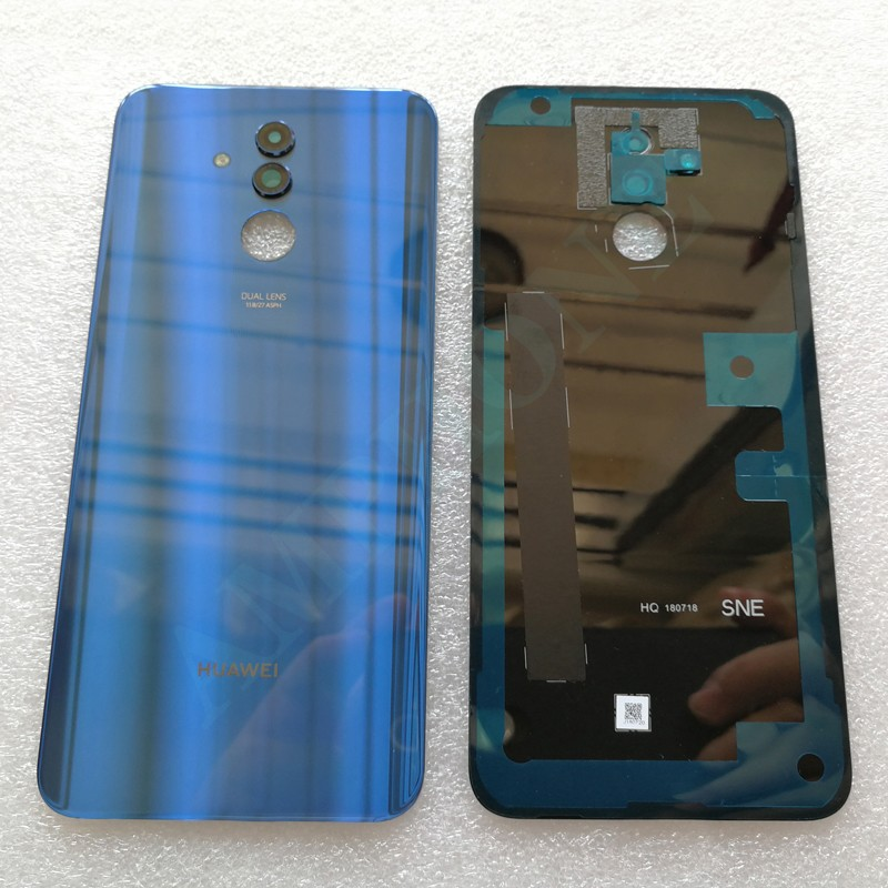 New Tempered Glass Back Cover For Huawei Mate 20 Lite Spare Parts Back Battery Cover Door Housing + Camera frame + Flash cover
