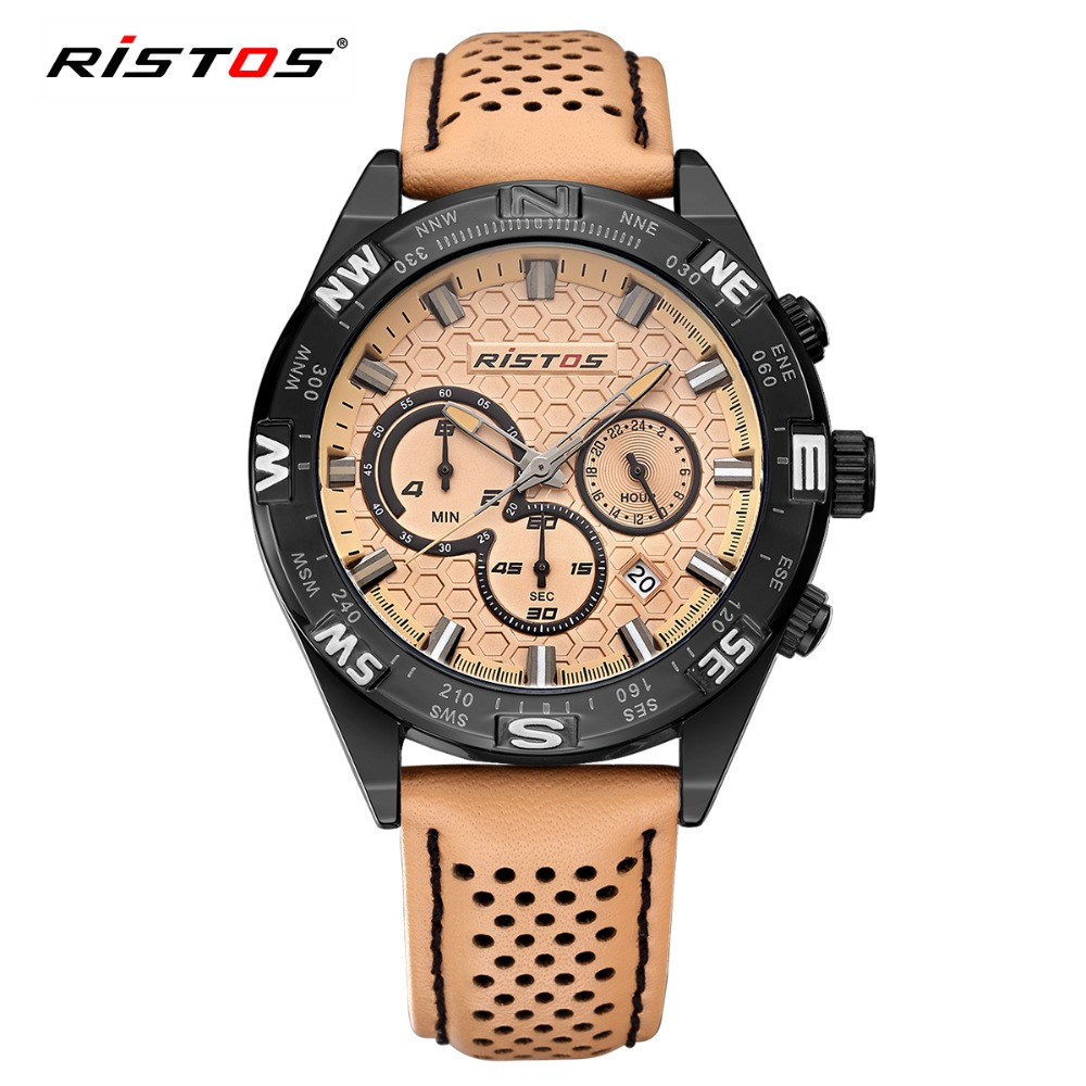 RISTOS Hot Sale Sport Men Watch Chronograph Calendar Quartz Leather Watches Male Army Fashion Date Wrist Watched Casual Relojes hubot elegant classic men s watch dates calendar classical art carved craft design chronograph men sport watches relogios