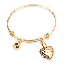 Memorial Jewelry Heart Shape Always in My Heart Pendant and Pet Paw Print Bracelet Cremation цена 2017