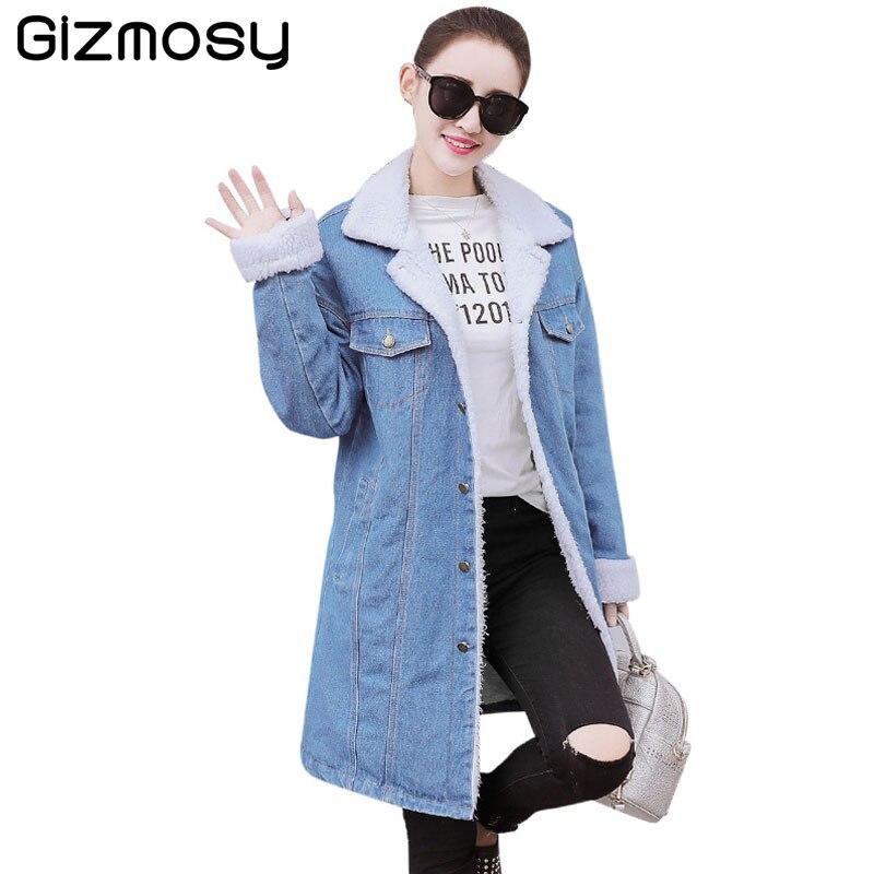 Autumn Winter Jeans Jacket Women Single Breasted Coat Fur Collar Long Sleeve Denim Jacket Women Casual Outerwear Female BN952