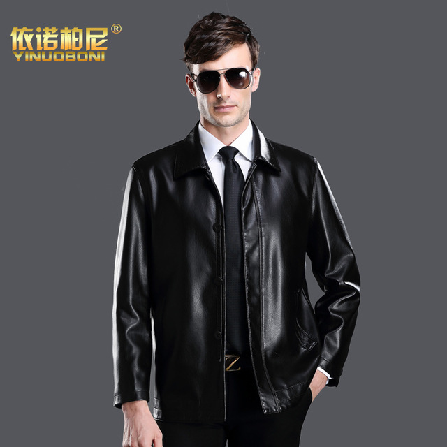 A Long Section Of 2015 Spring And Autumn In Old Men's Leather Jacket Lapel Pu Thin Leather Jacket In Male Leisure Simulation