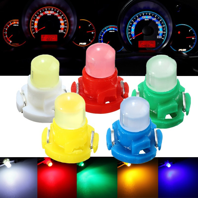 10pcs T4 LED Neo Wedge Dashboard Instrument Cluster Lights Car Panel Gauge Dash Bulbs White/Blue/Red/Green/Yellow DC 12V uxcell 10 pcs ice blue 3020 smd led vehicles car dashboard dash light lamp internal