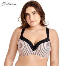DELIMIRA Women's Full Figure Lightly Lined Underwire Seamless Lace Balconette Bra