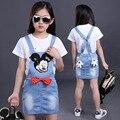 Conjuntos de Roupas meninas Dos Desenhos Animados Macacão Jeans Para Meninas T-Shirt de Manga Curta adolescente crianças outfits tees & saias 2 pcs 7 9 11 13 anos