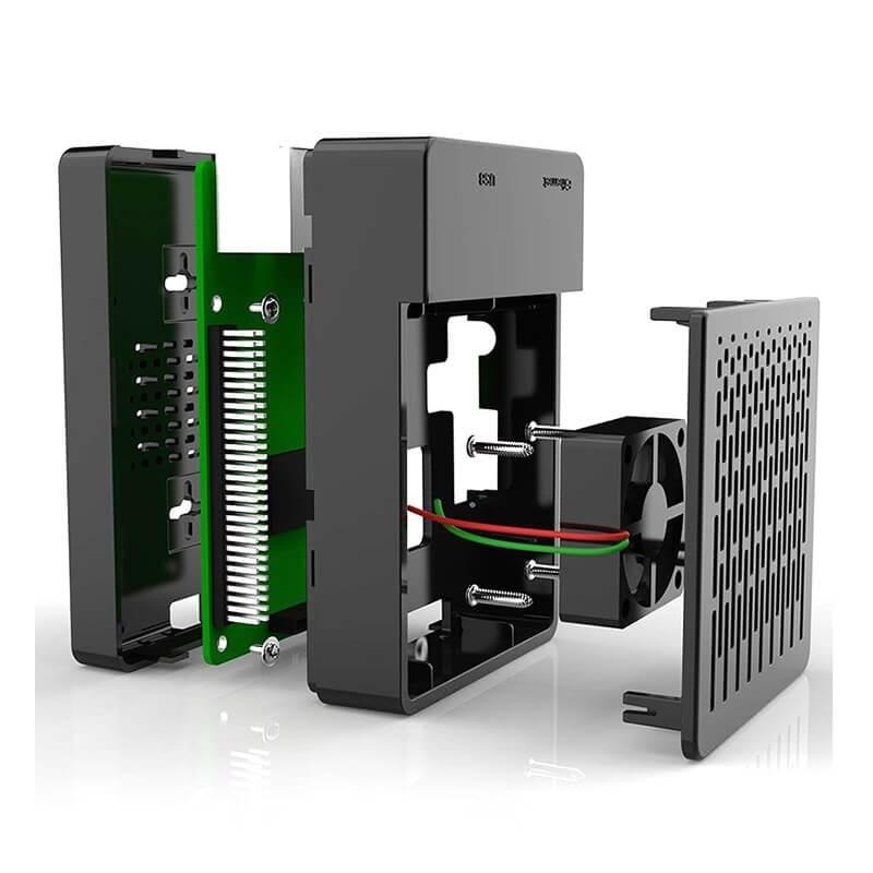 Elecrow Multifunction Kit For Raspberry Pi 3B+ Case With Cooling Fan +aluminum Heatsinks Black Box Shell For Raspberry Pi 3/2/B+