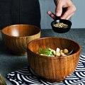 1Pc Holz Schüssel Japanischen Stil Holz Reis Suppe Schüssel Salat Schüssel Lebensmittel Behälter Große Kleine Schüssel für Kinder Geschirr holz Utensilien
