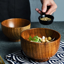 1Pc Wooden Bowl Japanese Style Wood Rice Soup Bowl Salad Bowl Food Container Large Small Bowl for Kids Tableware Wooden Utensils