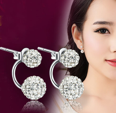 925 pure silver earrings female elegant sparkling shiny crystal ball Shambhala stud earring accessories anti-allergic