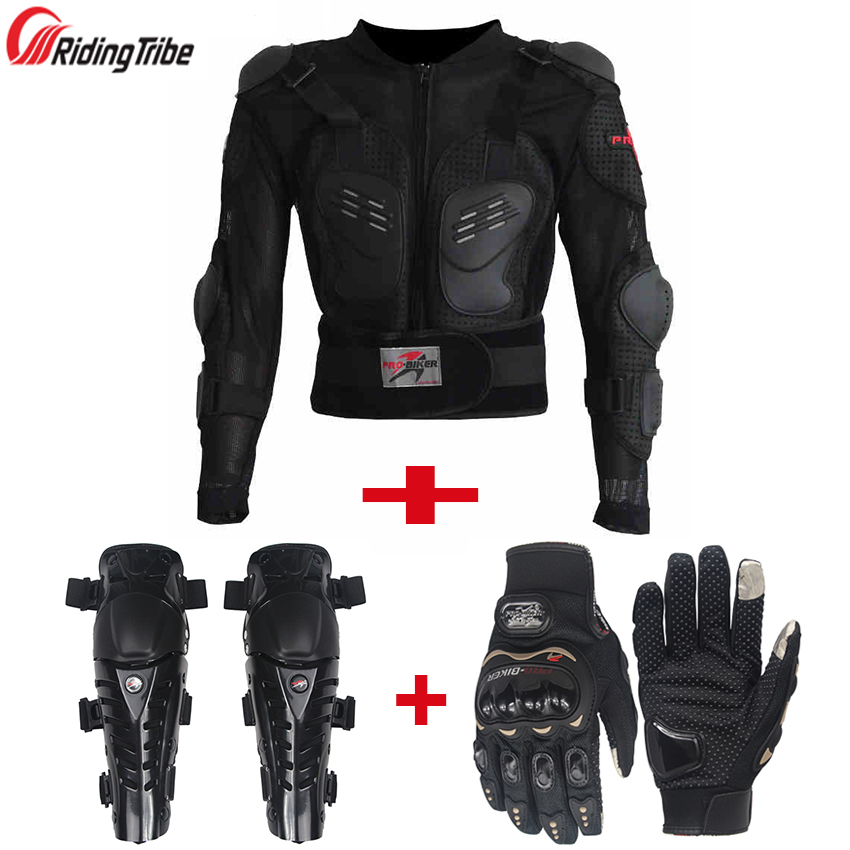 Riding Tribe One Set Motorcycle Jackets Armor Motocross Knee Protection Motorbike Protective Gear Motorcycle Gloves Jacket