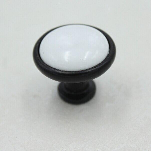 32mm Black Kitchen Cabinet Knobs White Ceramic Drawer Pulls Black White Dresser Wardrobe Handles Pulls Knobs