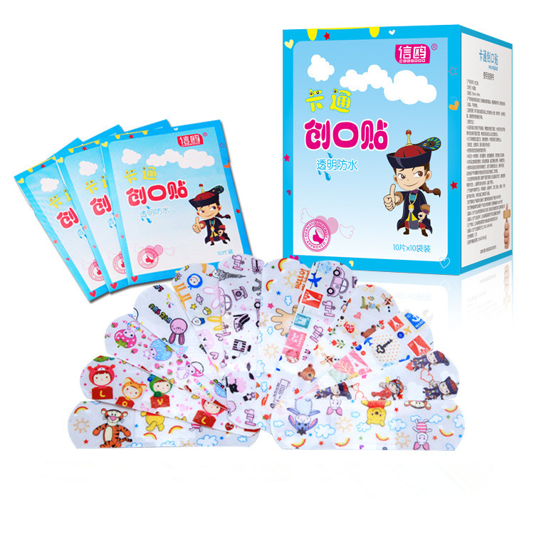 100PCs Waterproof Breathable Cute Cartoon Band Aid Hemostasis First Aid Emergency Kit Adhesive Bandages