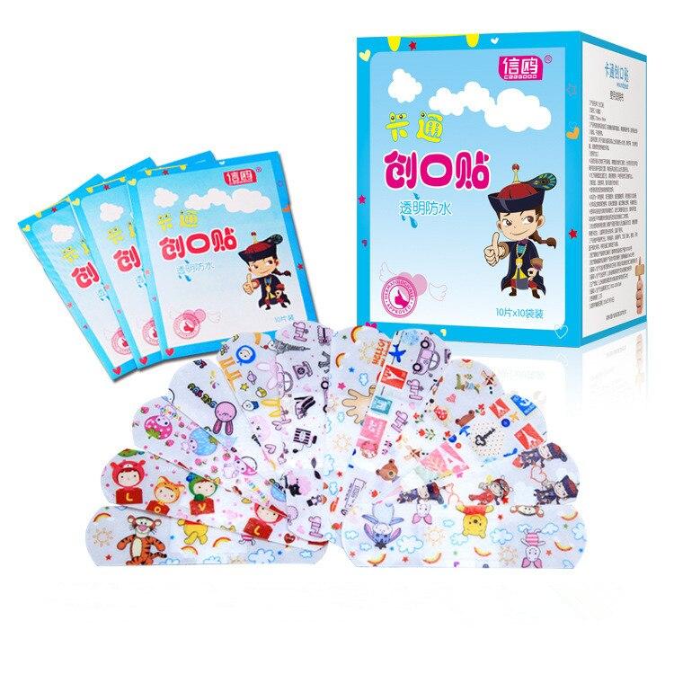 50PCs/100PCs Waterproof Breathable Cute Cartoon Band Aid Hemostasis First Aid Emergency Kit Adhesive Bandages