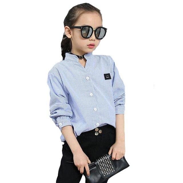 766181bcc € 9.97 25% de DESCUENTO Blusas a rayas para Niñas Ropa de manga larga con  cara sonriente camisetas para niñas Tops de algodón uniformes escolares ...