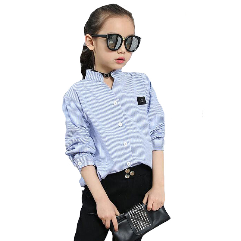 Children Striped Blouses For Girls Clothing Long Sleeve Smiling Face Shirts Baby Girls Tops Cotton School Uniforms 18M 14years in Blouses Shirts from Mother Kids