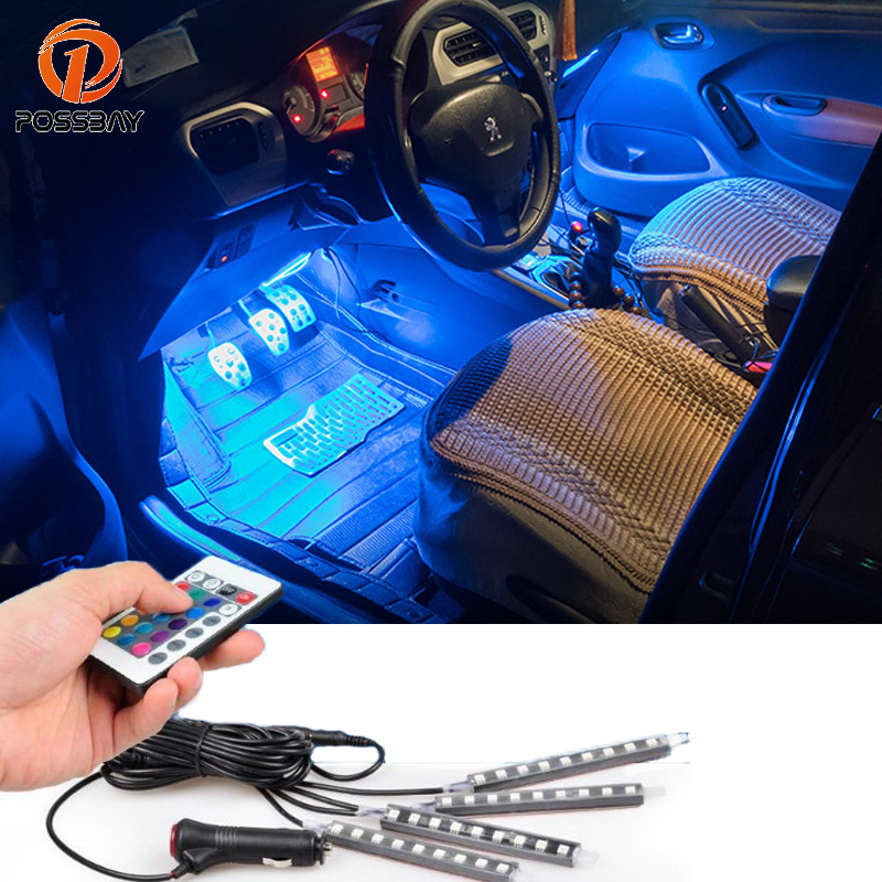Us 9 58 25 Off Possbay 4pcs Car Styling Car Rgb Led Light Strip Car Decorative Atmosphere Lights Luces Car Interior Lamp Wireless Remote Voice In