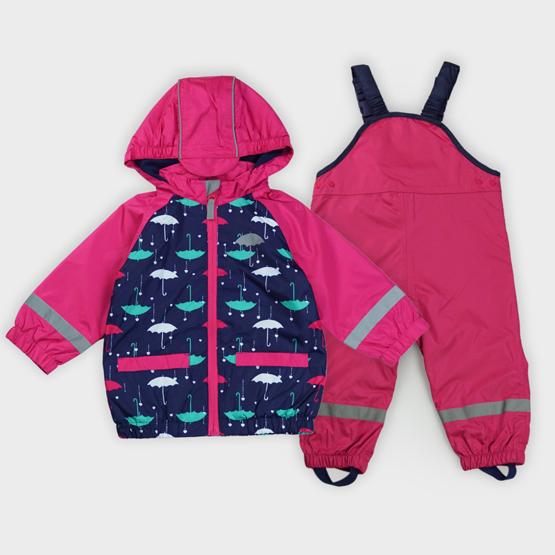 Kids Waterproof Windproof Baby Girl Jacket Suit+Overalls Reflective Article Children Raincoat Warm Polar Fleece Girls Clothes extended hong kong style oxford cloth long sleeve raincoat warning reflective waterproof outdoor overalls many pockets printable