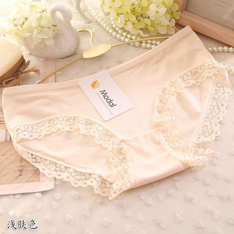 Lace Panties Women Fashion Lace Lingerie Solid Color Pretty Briefs High Quality Cotton Mid Waist Women Underwear