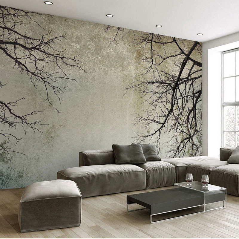 Living Room Bedroom Wall Papers 3D Vintage Tree Branch ...