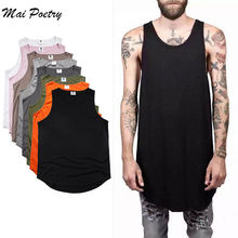 2017 Mai Poetry  Men summer Fashion Hip Hop long Vest  Tanks longline tops Black tank top bodybuilding fitness vest us