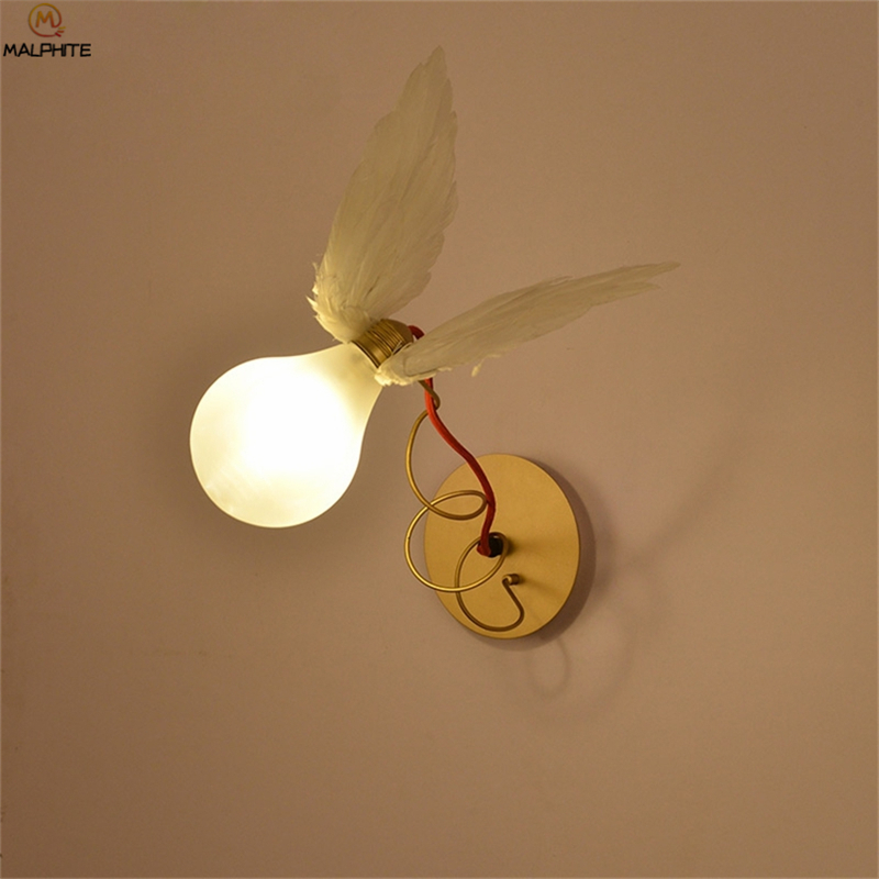 nordic anjo pena led lampada de parede led fio cobre enrolamento ajustavel luz parede restaurante decoracao