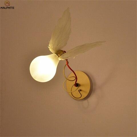nordic anjo pena led lampada de parede led fio cobre enrolamento ajustavel luz parede restaurante